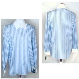 Charter Club Button Down Striped Blouse, Size 10